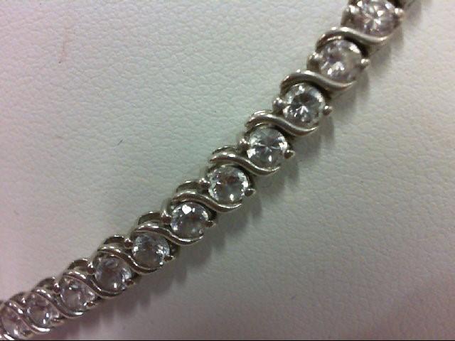Synthetic Cubic Zirconia Silver-Stone Bracelet 925 Silver 11.1g