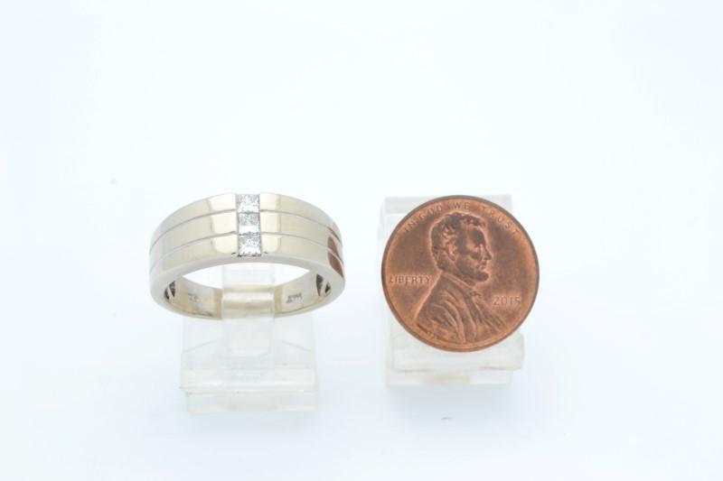 ESTATE DIAMOND RING BAND SOLID 14K WHITE GOLD WEDDING FINE SIZE 9