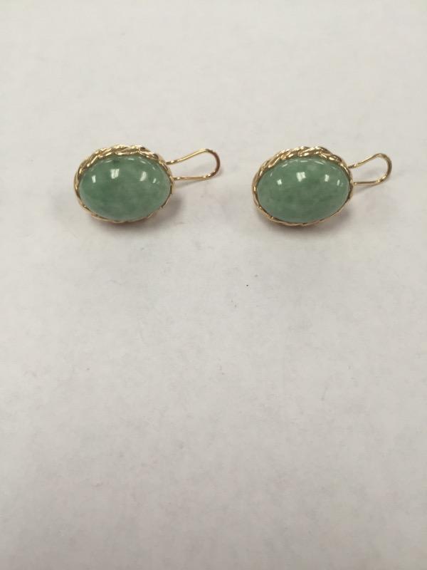 Jade Gold Earrings 14K Yellow Gold 13.6g