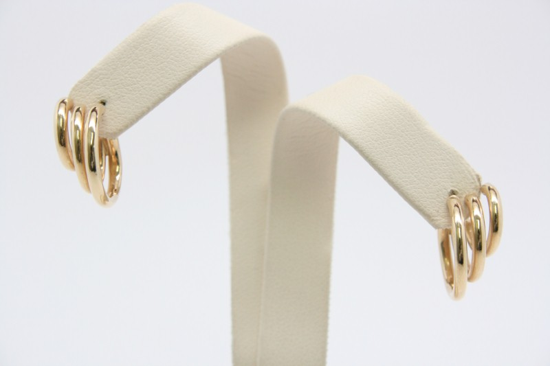 FASHION STYLE TRIPPLE HOOP EARRINGS 14K YELLOW GOLD