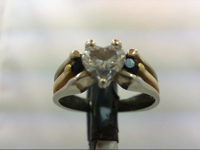 Lady's Stone & Diamond Ring 0.75 CT. 18K 2 Tone Gold 5.65g