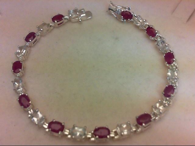 Synthetic White Stone Silver-Stone Bracelet 925 Silver 13.9g