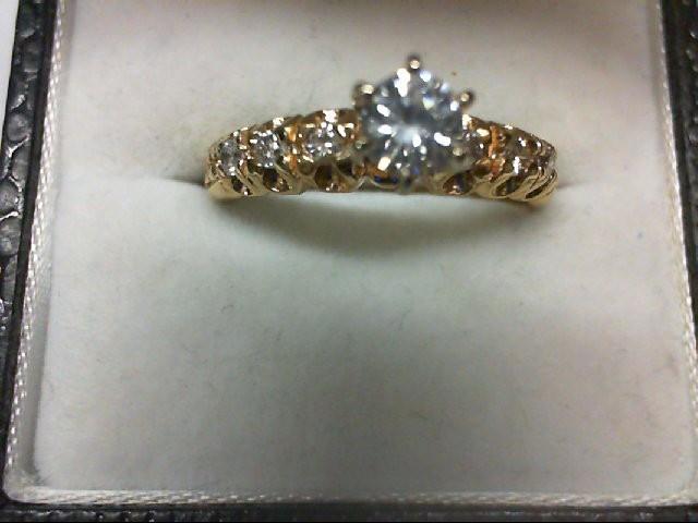 Lady's Diamond Engagement Ring 7 Diamonds .53 Carat T.W. 14K Yellow Gold 4.1g