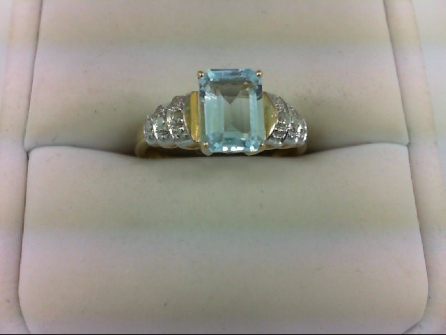 Synthetic Aquamarine Lady's Stone & Diamond Ring 2 Diamonds 0.02 Carat T.W. 10K
