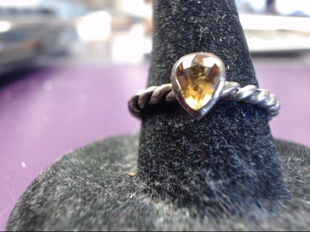 Yellow Stone Lady's Silver & Stone Ring 925 Silver 2.69g Size:7