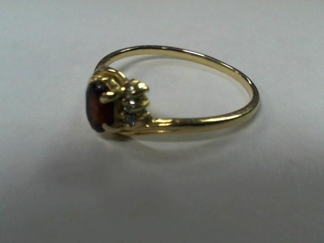 Synthetic Almandite Garnet Lady's Stone Ring 14K Yellow Gold 1.8g Size: 9.5