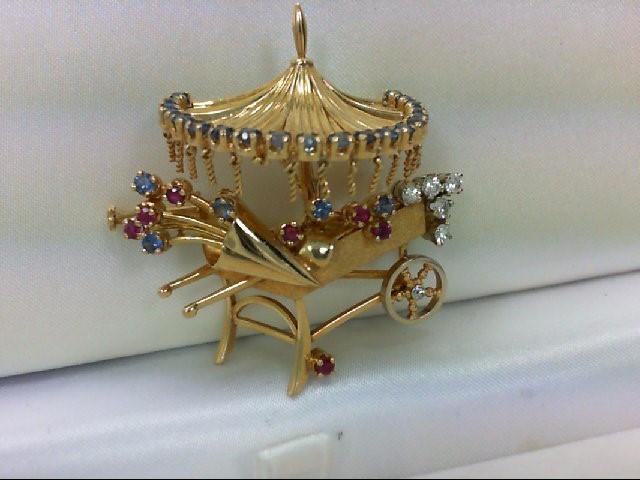 Sapphire Gold-Diamond-Stone Brooch 6 Diamonds .16 Carat T.W. 18K Yellow Gold
