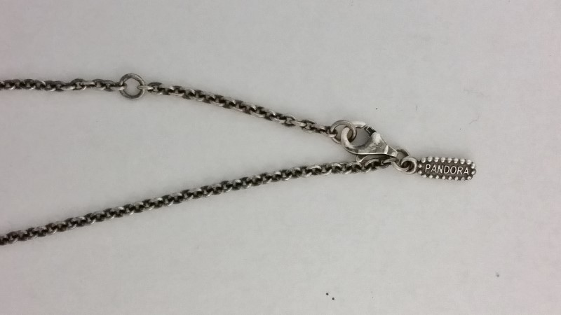 "14K 925 Retired Pandora ALE Diamond & Pearl Necklace ""Life's Path"" 590309D-45"