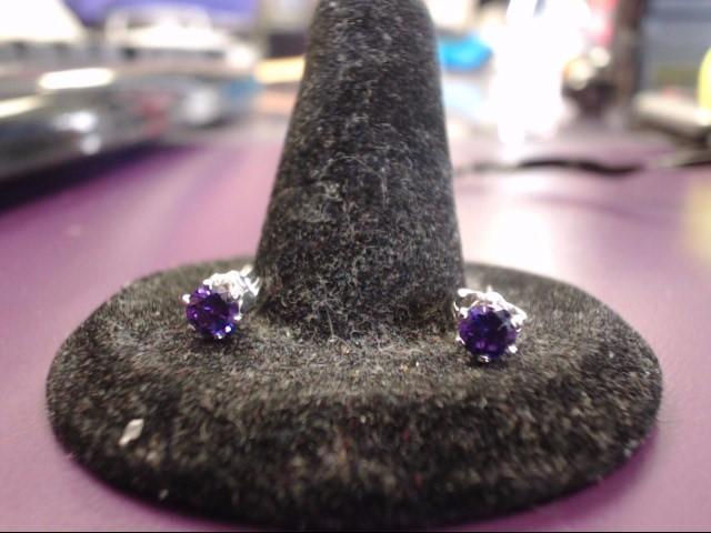 Synthetic Amethyst Silver-Stone Earrings 925 Silver 0.6g