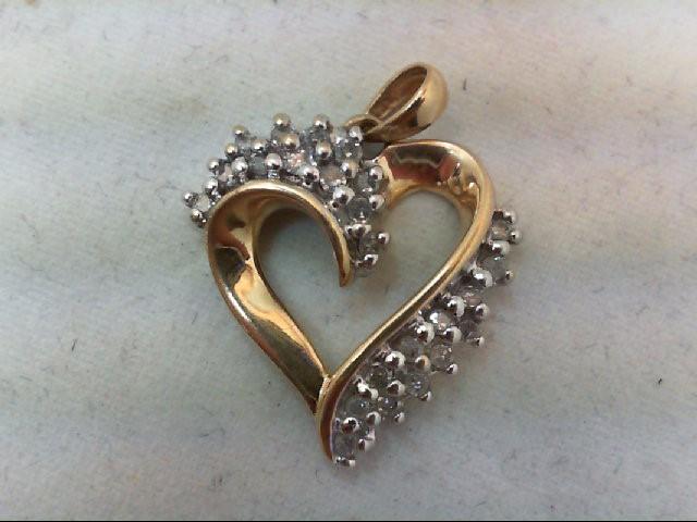 Gold-Multi-Diamond Pendant 24 Diamonds .24 Carat T.W. 10K Yellow Gold 2.2g