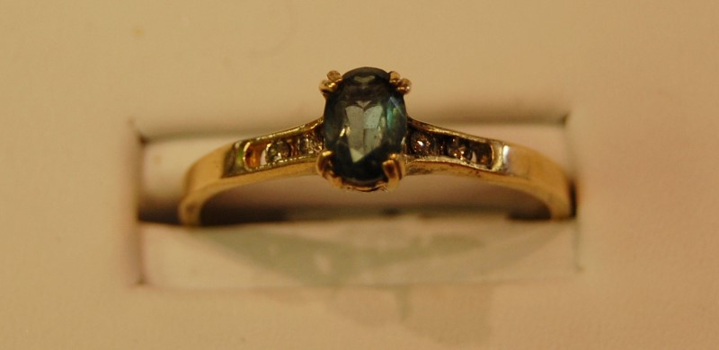 Blue Stone Lady's Stone Ring 14K Yellow Gold 2.2g