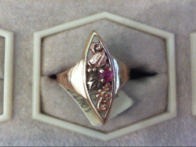 Red Stone Lady's Stone Ring 10K 2 Tone Gold 2.3g Size:6.5