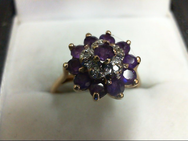Amethyst Lady's Stone & Diamond Ring 5 Diamonds 0.05 Carat T.W. 10K Yellow Gold
