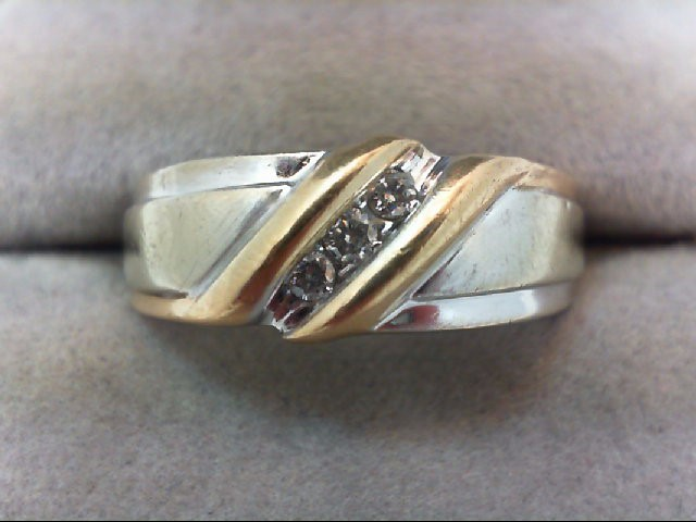 Gent's Gold-Diamond Wedding Band 3 Diamonds .18 Carat T.W. 14K 2 Tone Gold 7.2g