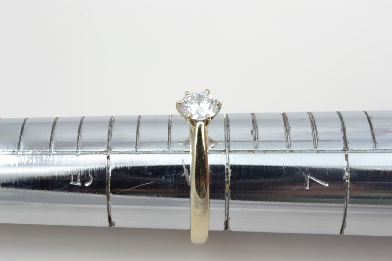 VINTAGE NATURAL DIAMOND SOLITAIRE RING SOLID 18K WHITE GOLD ENGAGE