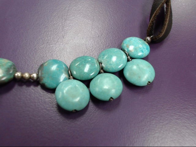 "18"" Synthetic Turquoise Stone Necklace 925 Silver 18.61g"