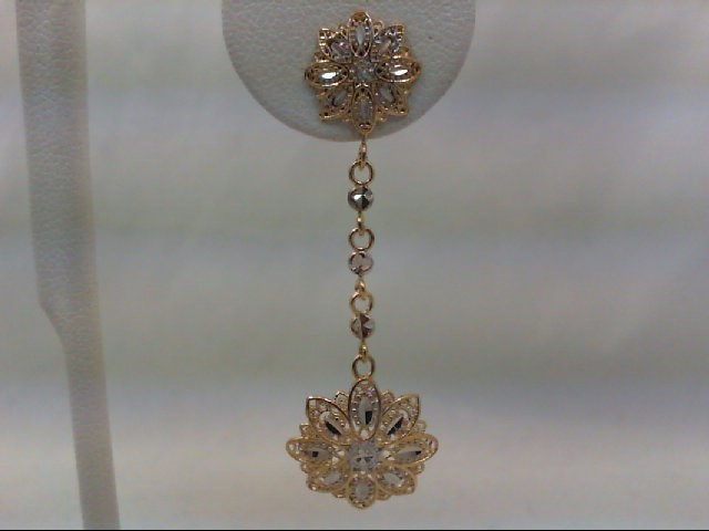 Gold Earrings 14K 2 Tone Gold 2.9g