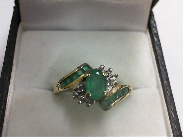 Emerald Lady's Stone & Diamond Ring 8 Diamonds .08 Carat T.W. 10K Yellow Gold