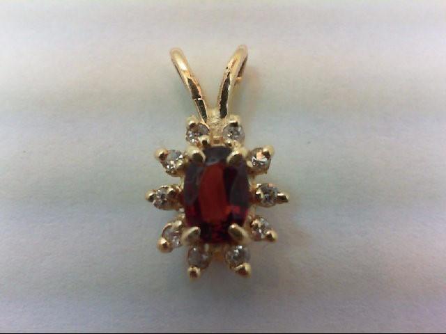 Almandite Garnet Gold-Diamond & Stone Pendant 10 Diamonds .10 Carat T.W.