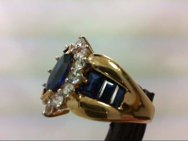 Sapphire Lady's Stone Ring 10K Yellow Gold 5.3g Size:7