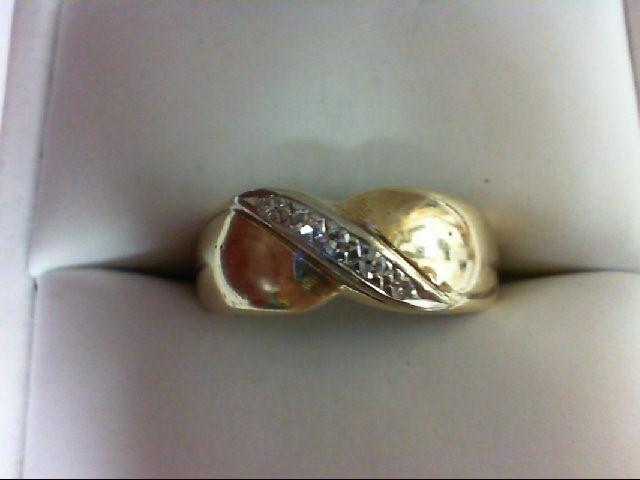 Lady's Diamond Wedding Band 5 Diamonds 0.05 Carat T.W. 14K Yellow Gold 3.8g Size