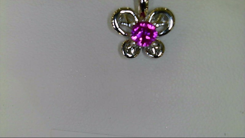 NEW SS BUTTERFLY JULY BIRTHSTONE RUBY PENDANT