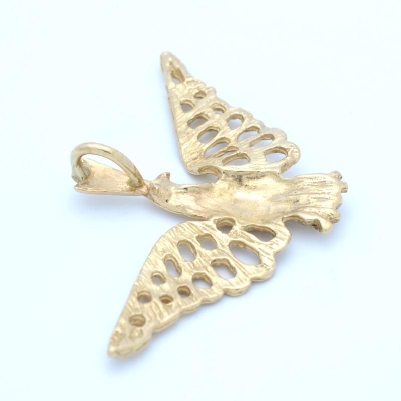 SOLID 14K GOLD EAGLE PENDANT CHARM BIRD BALD USA AMERICA SPREAD WING
