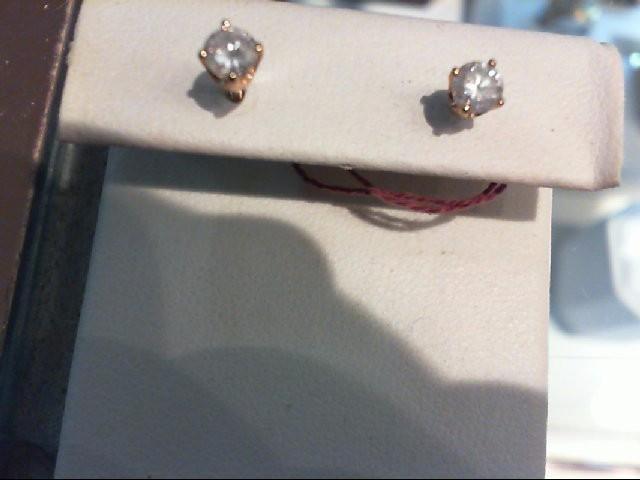 Gold-Diamond Earrings 2 Diamonds .50 Carat T.W. 14K Yellow Gold 1g