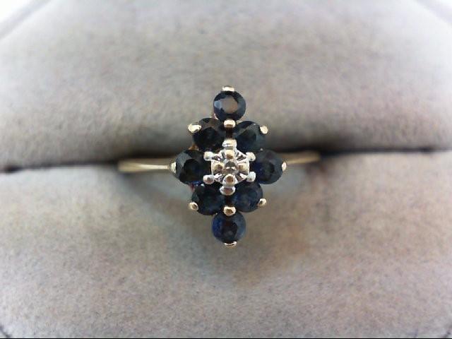Sapphire Lady's Stone & Diamond Ring .01 CT. 10K Yellow Gold 1.9g