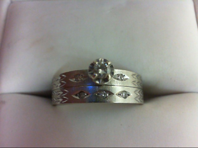 Lady's Diamond Wedding Set 6 Diamonds 0.12 Carat T.W. 10K White Gold 3.8g