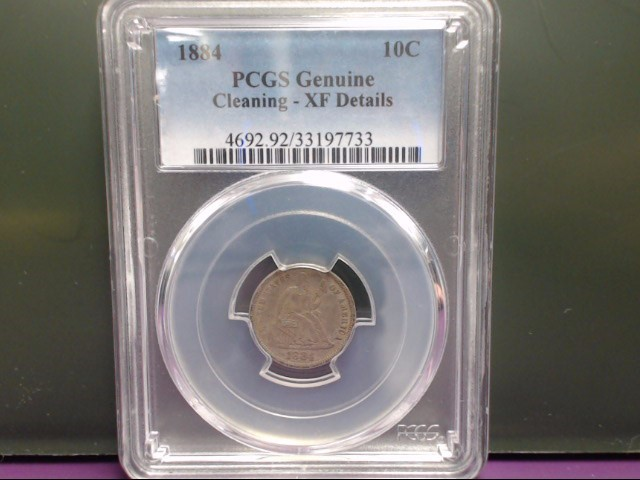 1884 Liberty Seated Dime PCGS Graded Genuine Cleaned XF Details