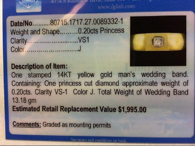 Gent's Gold-Diamond Wedding Band .20 CT. 14K Yellow Gold 13.18g
