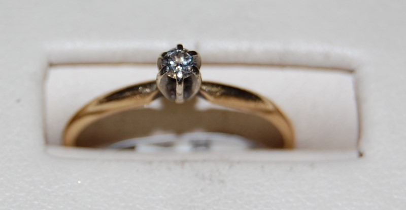 14K Yellow Gold Lady's Diamond Engagement Ring 1.2G 0.11CTW Size 7