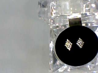 Gold-Diamond Earrings 32 Diamonds .32 Carat T.W. 14K Yellow Gold 1.1dwt