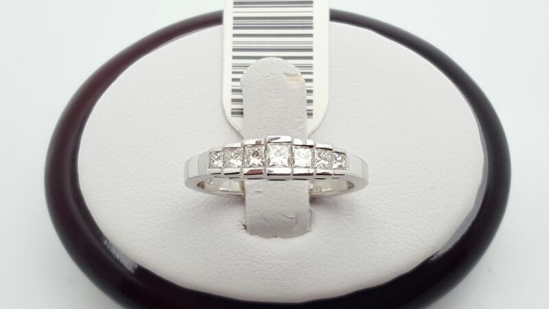 Lady's Gold-Diamond Anniversary Ring 7 Diamonds 0.40 Carat T.W. 18K White Gold 3