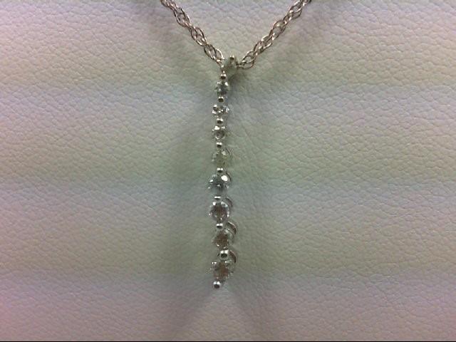 Gold-Multi-Diamond Pendant 9 Diamonds 0.24 Carat T.W. 14K White Gold 2g