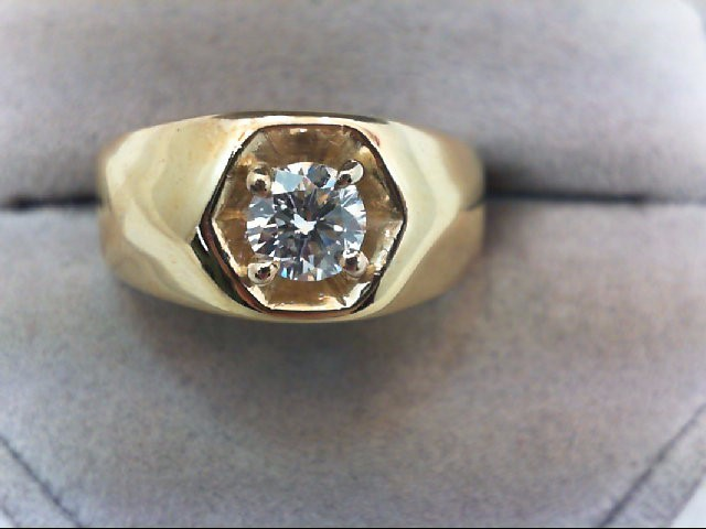 Gent's Diamond Solitaire Ring .58 CT. 14K Yellow Gold 7.54g