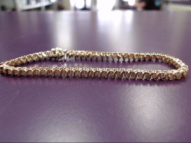 Gold-Diamond Bracelet 64 Diamonds 1.28 Carat T.W. 14K Yellow Gold 10.1g