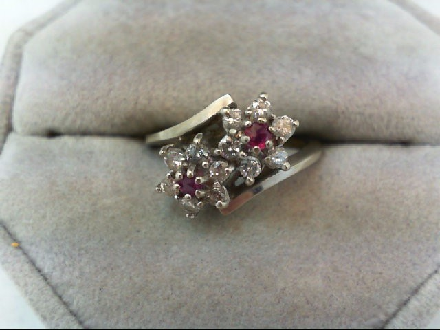 Lady's Stone & Diamond Ring 12 Diamonds 0.48 Carat T.W. 14K White Gold 3.4g