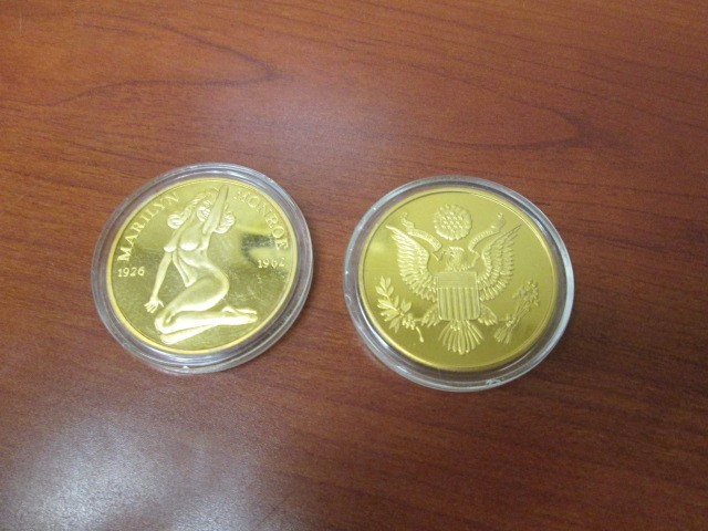 MARILYN MONROE 24KT GOLD PLATED NUDE COIN PROOF 1926-1962