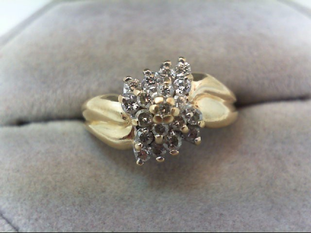 Lady's Diamond Cluster Ring 19 Diamonds .57 Carat T.W. 10K Yellow Gold 3.2g