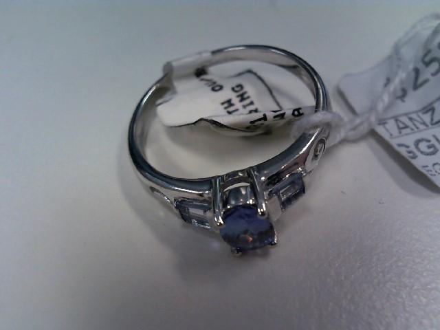 Tanzanite Lady's Stone Ring 10K White Gold 2.51g Size:7.8