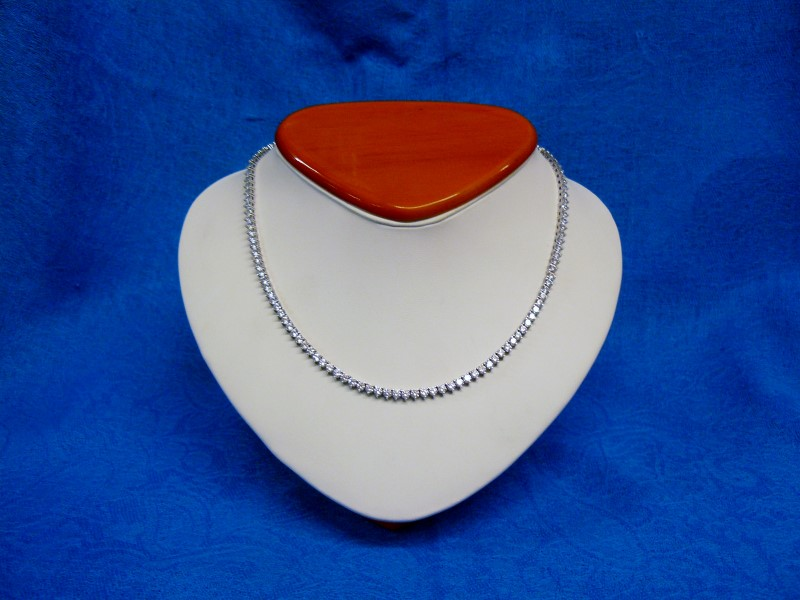 """16"""" Cubic Zirconia Stone Necklace 925 Silver 13.36dwt"""