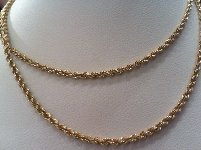 """19"""" Gold Rope Chain 14K Yellow Gold 5.9g"""