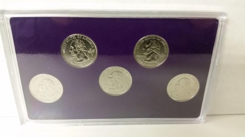 2000 Commemorative Quarters Platinum Layered Set (MA, MD, SC, NH, VA)