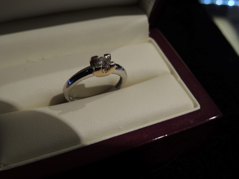 Lady's Diamond Solitaire Ring .15 CT. 14K 2 Tone Gold 3.2g Size:7