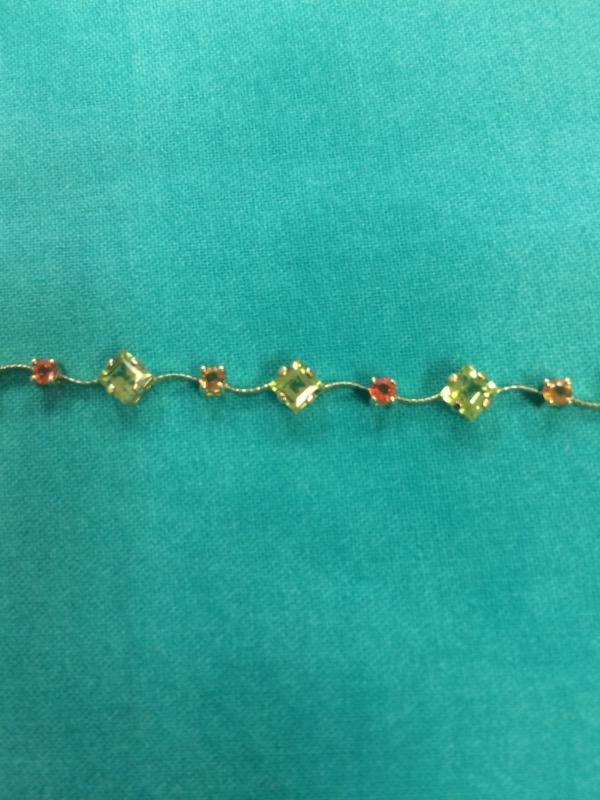 Purple Stone Gold-Stone Bracelet 14K Yellow Gold 3.4dwt