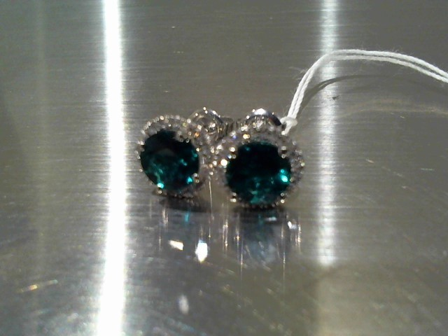 Synthetic Emerald Gold-Stone Earrings 14K White Gold 1.9g