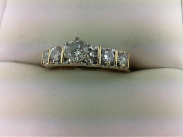 Lady's Diamond Engagement Ring 5 Diamonds 0.65 Carat T.W. 14K Yellow Gold 3.6g S