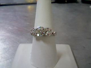 Lady's Diamond Cluster Ring 19 Diamonds .97 Carat T.W. 10K White Gold 4.3g
